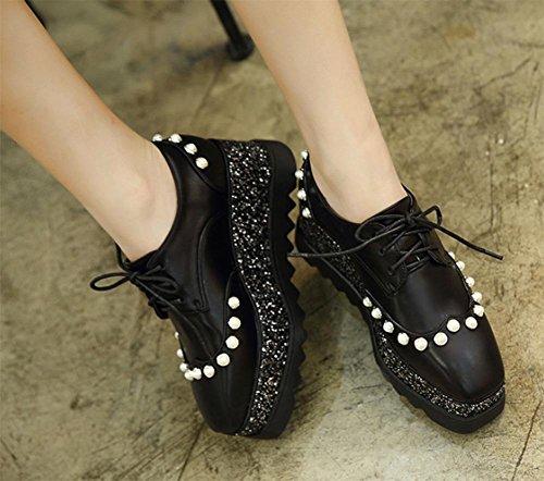 La signora Pearl Spring ascensore scarpe grosse scarpe single pattini della piattaforma crosta donna prima la pendenza lacci delle scarpe con scarpe da donna a testa quadra Black