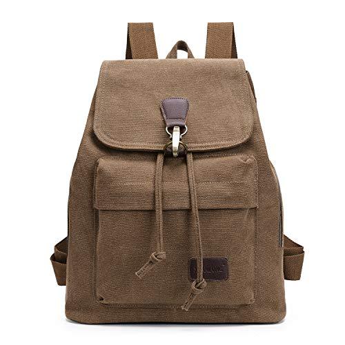 Damen Rucksack Canvas Schulrucksack Laptop Casual Handtasche Vintage Reiserucksack Damen Kleiner Outdoor Camping Daypack(Brown) Damen Rucksack Canvas Schulrucksack Laptop Casual Handtasche Vintage Rei - Khaki Handtasche