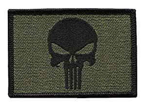 Punisher Skull Olive Green Tactical Military Morale Patch Iron On Biker Vest Patch Iron On Moto Tactique Écusson Brodé Thermocollant Par Titan One Europe