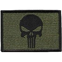 Hook Fastener Punisher Skull Olive Green Tactical Military Morale Patch Parche Bordado Gancho Por Titan One Europe