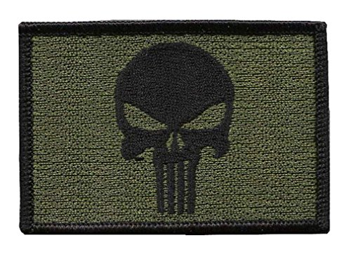Hook Fastener Punisher Skull Olive Green Tactical