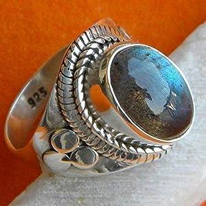 Labradorit Silber Ring, blau Feuer Labradorit Silber Ring, 925 Sterling Silber, Silber Ring, handgemachten Schmuck, Größe 14-22 DE