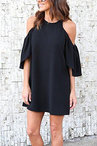 Le Donne Casuale Semplice Freddezza Fuori Ufficio Turno Camicia Vestito Black