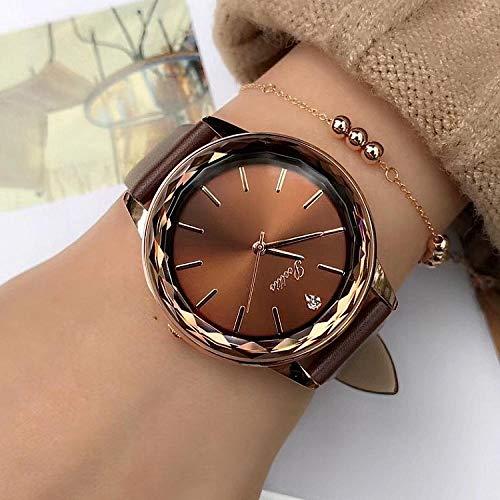 Reloj para Mujer Durable Diamond Glass Ladies Brown Diamond Fashion Correa De Cuero Reloj para Mujer
