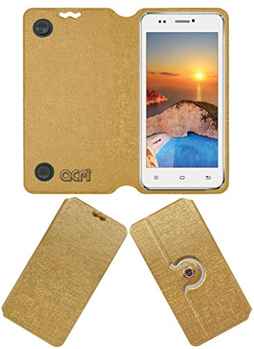 Acm Designer Rotating Flip Flap Case for Iball Andi 5k Sparkle Mobile Stand Cover Golden  available at amazon for Rs.399