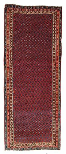 Nain Trading Kelim Soumak 396x155 Orientteppich Teppich Läufer Dunkelbraun/Lila Handgeknüpft Russland -