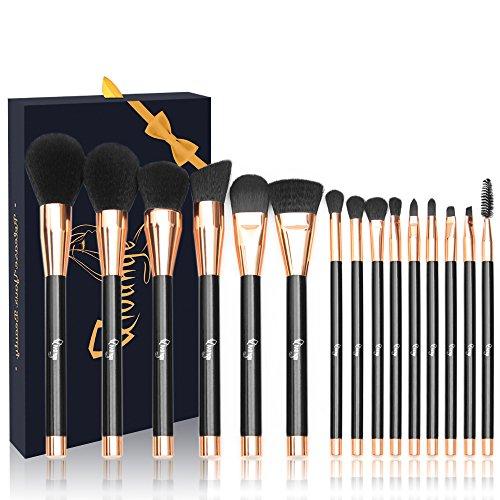 Make-up Pinsel Set 15 tlg Premium Kosmetik Pinsel mit Synthetische Borsten Holzgriff Foundation Lidschatten Blush Lip Pinsel mit Geschenkbox Qivange