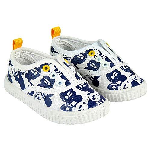 Zapatillas de Lona Niño Mickey Mouse Disney Sin Cordones, Blancos y A