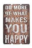 Holzschild Holz-Bild Spruch Lebensweisheit Happy 60x40cm - Wandbild Dekoschild Vintage Bild Holz Holztafel Wanddeko Wandobjekt Wandschild Leben Glück