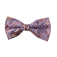 DBD7B28G Purple Orange Patterned Microfiber Mens Tie Fitness Fabric Pre-tied Bow Tie By Dan Smith