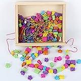 B&Julian Fädelspiel Motorikspielzeug Fädelschmuck aus Holz mit 180 Perlen 4 farbigen Bändern in Holzbox mit Deckel einfachen Transport für Kinder ab 3 Jahren hergestellt von Zaprori GmbH