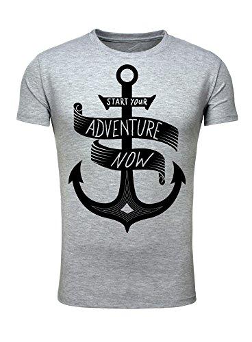 Legendary Items Herren T-Shirt Adventure Männer T Shirt Anker Segeln Hipster Abenteuer slim fit Grau