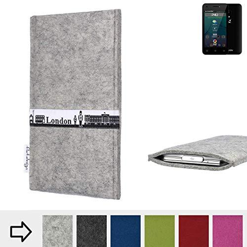 flat.design für Allview P42 Schutz Hülle Handy Case Skyline mit Webband London - Maßanfertigung der Schutztasche Handy-Tasche aus 100% Wollfilz (hellgrau) für Allview P42