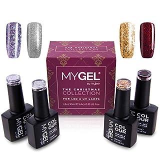 MyGEL by Mylee 2018 Christmas Gift Set UV/LED Soak-Off Gel Nail Polish Festive Colours Manicure Kit 10ml Bottles [Xmas Set (4 Colours) ONLY]