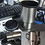 #9: Skyzone Stainless Steel electric car use Kettle Travel mini Auto water heating cups tea coffee milk boiling cup Hot Thermo Mug