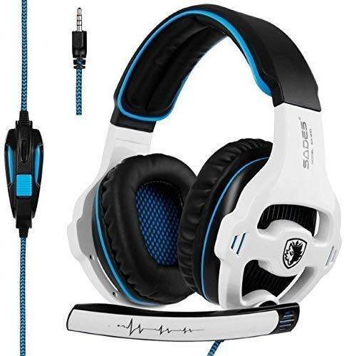 SADES SA810 Newest Version New Xbox One, PS4 Gaming Headset Headphone with 3.5mm Wired Over-Ear Noise Isolating Microphone Volume Control for Mac/PC/Laptop / PS4/Xbox one [White & Black]