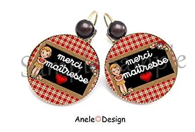 Boucles d'oreille Cadeau maîtresse * Merci Maîtresse - rouge noir cœur fille vichy