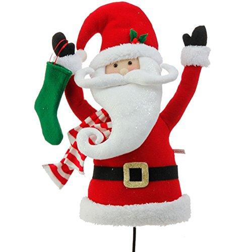 Plüsch Santa Claus Kopf und Torso Pick Accent Weihnachtsbaum Ornament Decor, 43,2x 25,4x 14cm auf biegbarer Stick