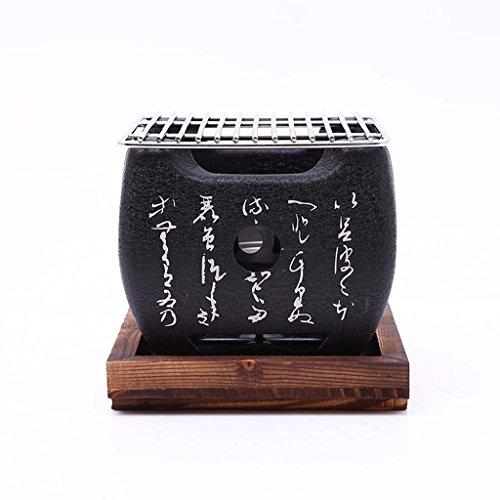 J&A Mini Parrilla de Barbacoa Japonesa, Parrilla de carbón portátil Interior/Exterior portátil con Bandeja de Madera Maciza, Horno de Barro Barbacoa Cuadrado con Texto Fresco (tamaño : 12 * 12)