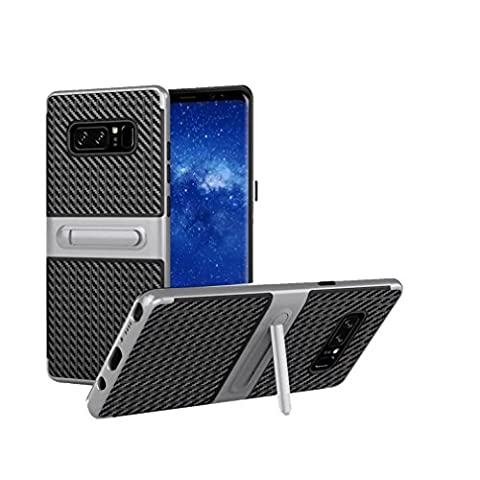 wuayi Shockproof Hybrid TPU + PC Full Cover Case Protector Stand For Samsung Note 8 (Silver)