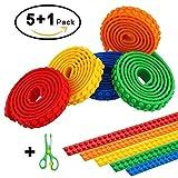CLIP & MOVE 5 Lego kompatible Bänder zum aufkleben inklusive Sicherheitsschere für Kinder - Jedes Band ist biegsam, wiederverwendbar, selbstklebend und 1 Meter lang