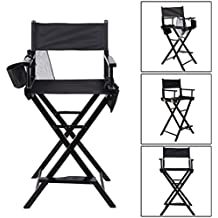 Homgrace Silla de Director plegable telescópico de maquillaje, silla de artista madera, máx capacidad 115kg Color Negro