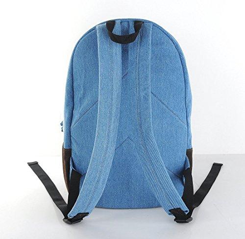 Minetom Damen Herren Vintage Modisch Casual Canvas Haltbare Segeltuch Taschen Reise Schultasche Rucksack Blau