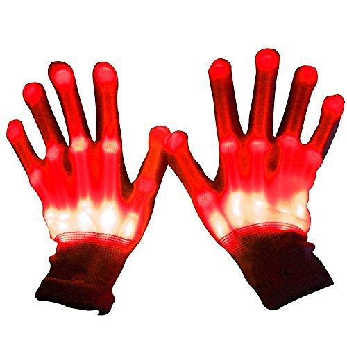 rneval Concert Party blinkende Beleuchtung GLOW Baumwolle Finger Hand Handschuhe–Rot (Glow Handschuhe)