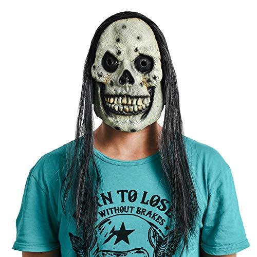 SCLMJ Horror Black Hair Skull Geistermaske Halloween Make-Up Scary Latex-Maske