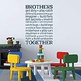 Beilinheng Brothers Together Wall Stickers Vinile Lettering Adesivo Brothers Friendship Decal per La Decorazione della Stanza del Ragazzo Decor Wall Art 36x22 inch (1 inch = 2,54 cm)