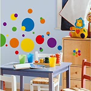 Thedecofactory RMK1248SCS STICKERS JUST DOTS PRIMARY PEEL & STICK WALL DECALS REPOSITIONNABLES, VINYLE, Multicolore, 104 x 26 x 2.5 cm