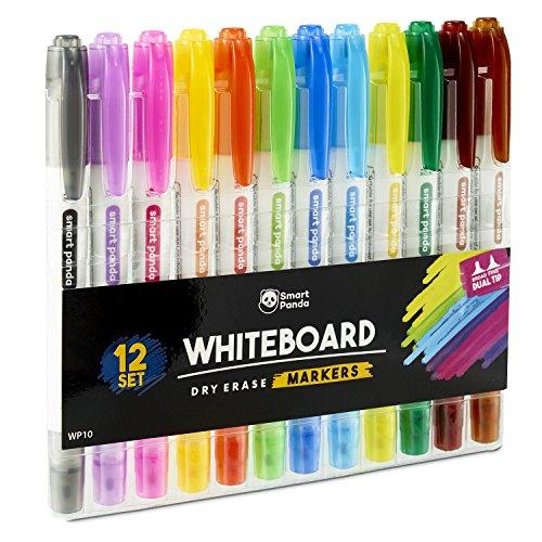 Whiteboard-Marker von SmartPanda – Doppelspitze, Medium und Fein – Trocken abwischbar, perfekt für Zuhause, Schule oder Büro – 12er Set verschiedene Farben