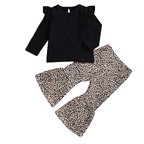 n Rüschen Langarm Schwarz Tops Leopard Bell-Bottoms Hose Kleidung Set (Color : Black, Size : 1-2T) ()