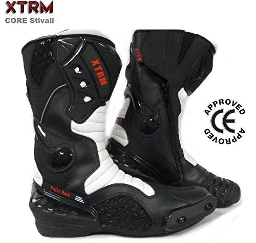 Stivali Moto Scooter - XTRM Core Nuovi Stivali Sportivi Motociclo Quad Pit Dirt Bike Armoured Stivale, CE Approvato - Black/White - 44/10