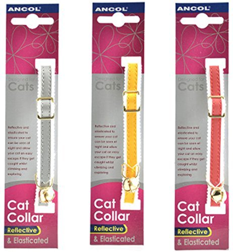 3 X Ancol Reflective Elasticated Cat Collars Bulk Buy Save Money (Package May Vary)