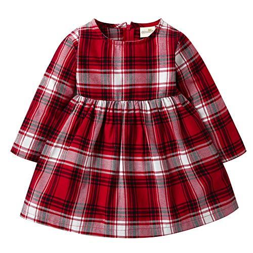 (Fairy Baby Mädchen rot Kariertes Kleid mit Langen Ärmeln Frühling Herbst Outfits Size 100 (Red Plaid))