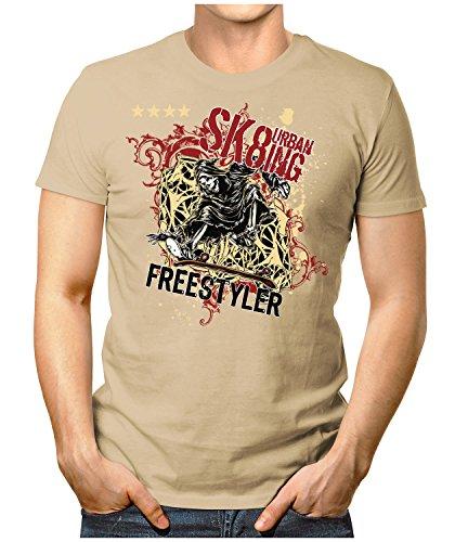 PRILANO Herren Fun T-Shirt - SKATING-FREESTYLER - Small bis 5XL - NEU Khaki