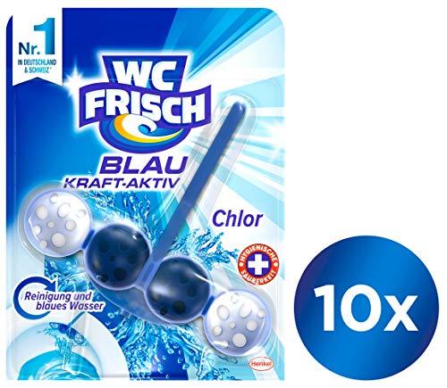 WC FRISCH Blau Kraft-Aktiv Chlor, WC-Reiniger und Farbspüler, 10er Pack (10 x 1 Stück)