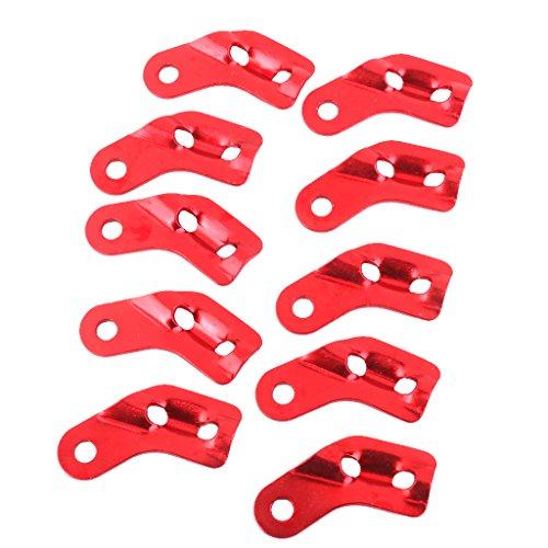 Générique Non-Brand Lot 10 Tendeur De Corde en Alliage Forme L Anti-dérapant Outil Réglable Rouge