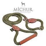 Michur Sherpa Hundeleine Green Hornet Führleine rund gewebt aus Nylon Tau mit robustem Leder verstärkt, in verschieden Größen und Farben erhältlich.