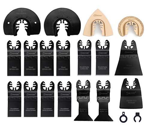 EZARC 18tlg Oszillierwerkzeug Zubehör Set Mix Multitool Sägeblätter Multifunktionswerkzeug für Multimaster, Bosch, Craftsman, Chicago Electric, Dremel und mehr