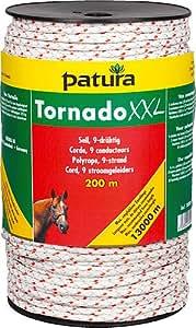 Patura Tornado XXL Seil, 500 m Rolle 6 Niro 0,20 mm, 3 Cu 0,30 mm, weiß-rot