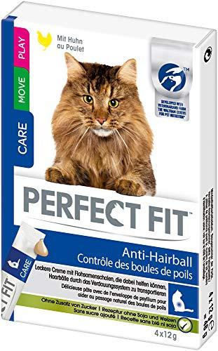 Perfect Fit Katzensnacks Katzenleckerli Anti-Hairball gegen Haarballen - Cremiger Snack zum aus der Hand Füttern mit Huhn, 44 Stück (11 x 4 Stück)