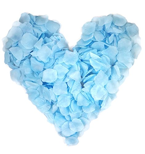 500 babyblaue Rosenblätter, Stoff, hellblau, gepackt zu 5x100 Stück, sehr weich - Geburt, Hochzeitsdeko, Taufe, Kommunion, Konfirmation, Jubiläum, Valentinstag, Heiratsantrag, Geburtstag, Streudeko, Romantisch, Basteln, künstliche Blütenblätter, Junge, blau, babyblau