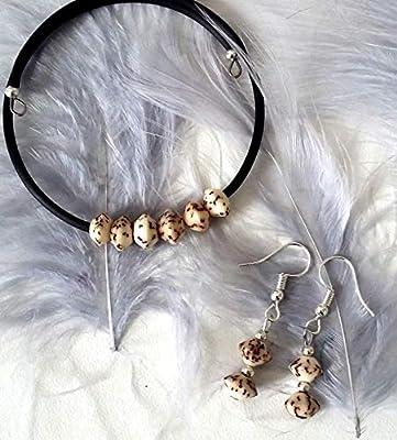 Ensemble bracelet et boucles d'oreilles graines