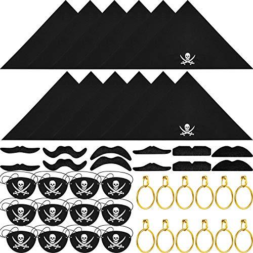 Bandana Kostüm Piraten - 48 Stück Kapitän Pirate Kostüm Zubehör, einschließlich Pirat Eye Patches, Pirat Bandana, Pirat Gold Ohrringe, Pirate Gefälschte Schnurrbart für Halloween Kinder Party Gefälligkeiten