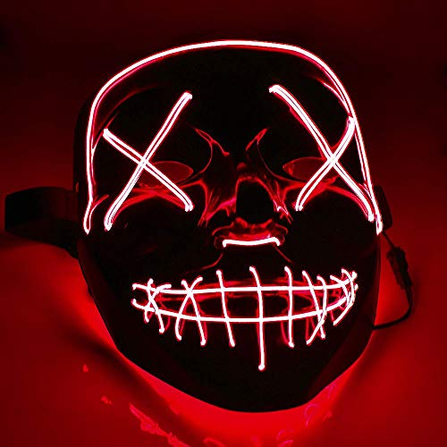 Eulan LED Neon Mask Halloween Party Mask from The Purge Election Year Festival Adult Luminous Light Glow In Dark Skull Cosplay Costume (Red led mask)