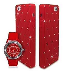 Bling Diamante Crystal Silicone Unisex Watch with Case for Apple iPhone 5 5S / iPhone SE - Red