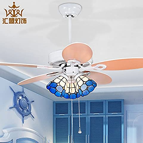 Wandun Mediterráneo Oriental Kiba Luz Ventilador Sencillo Y Elegante Comedor Salón Luces Ventilador De Techo