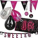 Neu: 36-Teiliges Deko-Set * Sweet 16 * für Den Geburtstag   Wimpelkette + Girlande + Luftballons + Fahne   Dekoration Motto Sechzehn Girl Mädchen Pink